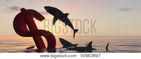 High resolution conceptual bloody dollar symbol or sign sinking in water or sea, with black sharks eating , metaphor or concept for crisis in US, ideal for financial,business or currency designs