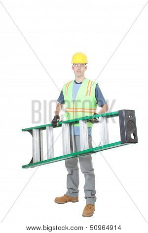 Construction Worker Carrying A Ladder