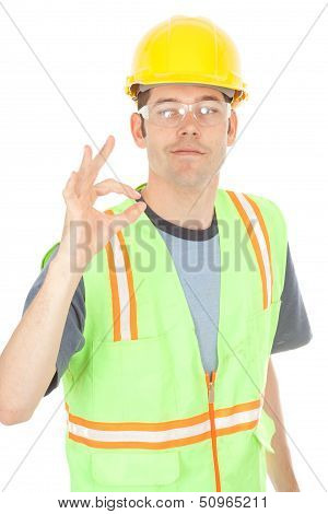 Construction Worker Gives Okay Sign