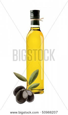Olive oil bottle and olives on white