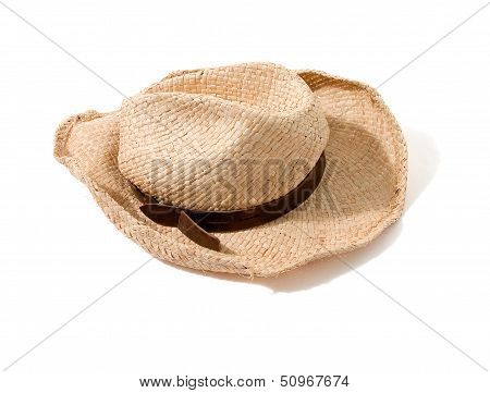 Raffia Farmer Hat With Leather Hatband