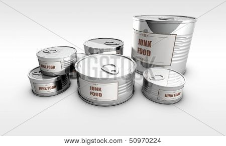 canned foods, with junk food label