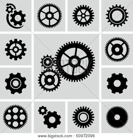 Conjunto de iconos de ruedas dentadas