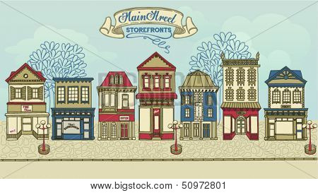 Main Street Storefronts - Hand drawn street with a row of colorful stores, street lights and high street banner