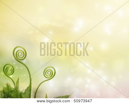 Plant Tendrils On Fantasy Background