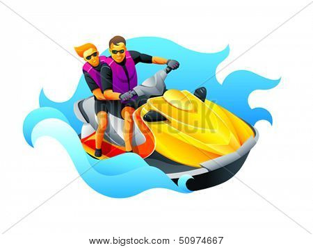 Happy couple enjoy riding ski jet in blue ocean