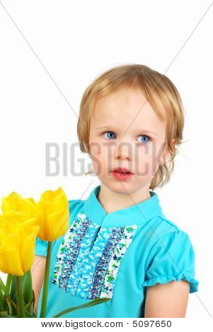 Girl Present Yellow Tulips