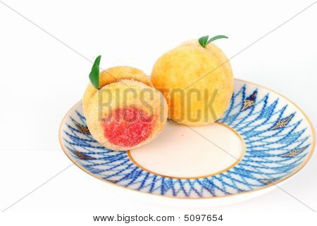 Biscuits Peaches On The Plate.