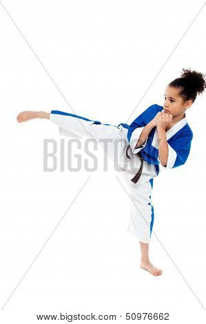 Small Kid Practicing Karate Kick