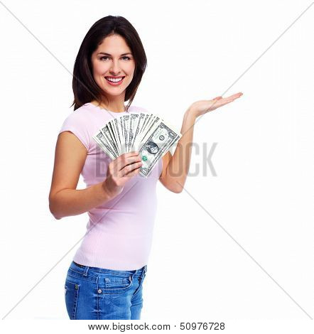 Happy young smiling woman holding cash, isolated over white background
