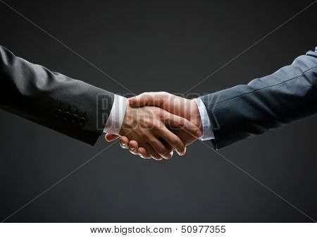 Close up of handshake of business people. Concept of trustworthy relations and business cooperation