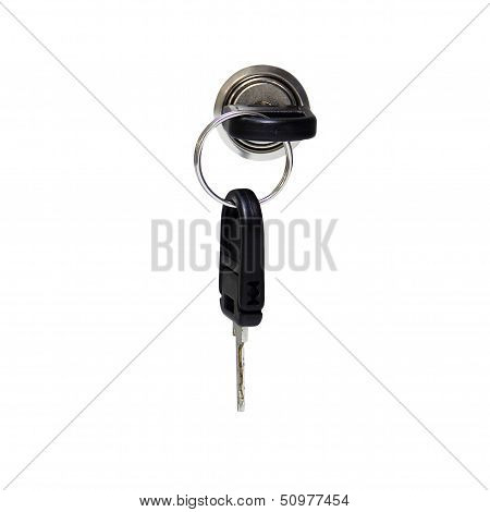 A Key In Keyhole With Locking A Cabinet Isolated Over White Background