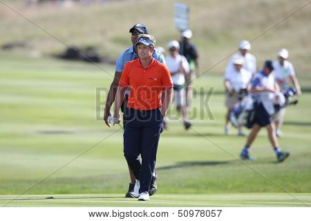 Sep 15, 2013; Lake Forest, IL, USA; Luke Donald approaches the 18th green during the third round of the BMW Championship at Conway Farms Golf Club.