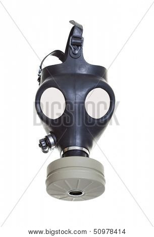 Old vintage gas mask on a white background.