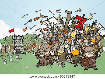 crazy vikings raiding illustration