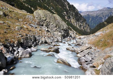 Mointain river in Berner Oberland region of Switzerland