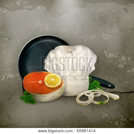 Fish steak old style vector