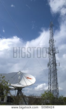 Satellite And Antenna Tower