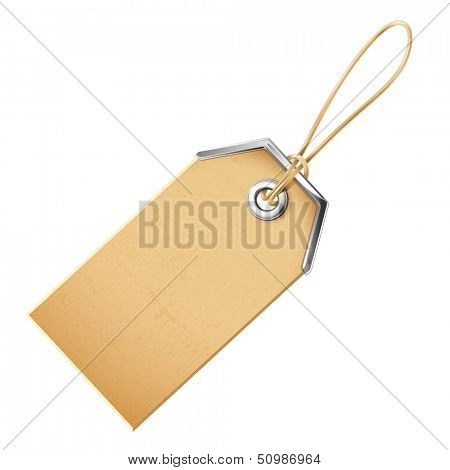 Label with a metal grommet. Illustration isolated on white background. Raster copy
