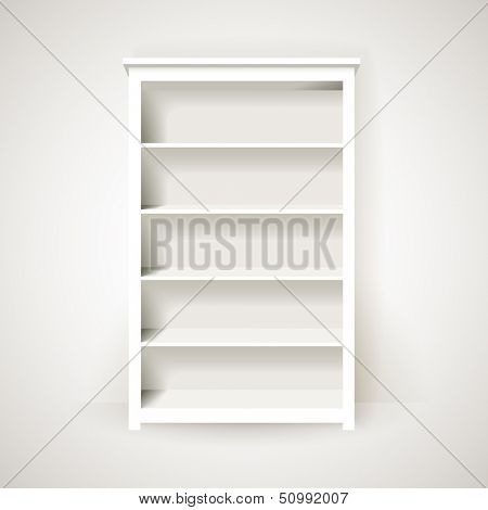 Empty white bookcase, eps10 vector