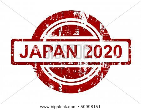 Japan 2020 stamp isolated on white background.