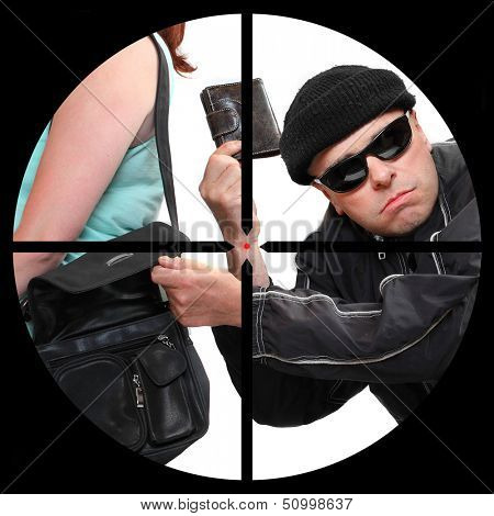 Thief stealing from handbag in a police sniper's scope. Security and insurance concept.