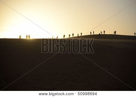 Group of people silhouetted against setting sun