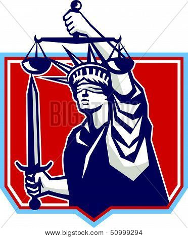 Statue Of Liberty Wielding Sword Scales Justice
