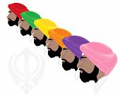 picture of sikh  - an illustration of sikh men wearing colorful turbans isolated on a white background - JPG