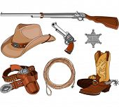 stock photo of cowboy  - Various vintage cowboy western objects set - JPG