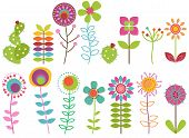 stock photo of girly  - Vector Collection of Funky Retro Stylized Flowers - JPG