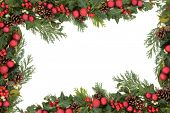 stock photo of mistletoe  - Christmas background floral border with red baubles - JPG