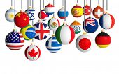 pic of flags world  - Christmas balls with different flags hanging on white background - JPG