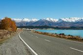 image of long winding road  - Autumn  Road - JPG