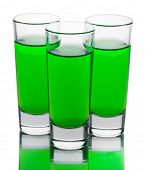 stock photo of absinthe  - three glasses of absinthe isolated on white - JPG