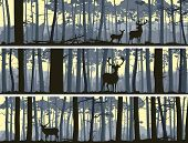 picture of horny  - Horizontal abstract banners of wild deer in forest with trunks of trees - JPG