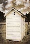 pic of outhouses  - Two Holer Outhouse  - JPG