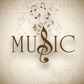 picture of treble clef  - Musical background with musical notes - JPG