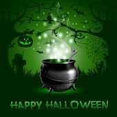 stock photo of cauldron  - Halloween night background with with magic potion in a cauldron - JPG