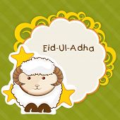 picture of bakra  - Muslim community festival of sacrifice Eid Ul Adha greeting card or background with sheep on abstract vintage background - JPG