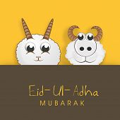 stock photo of eid al adha  - Muslim community festival of sacrifice Eid Ul Adha greeting card or background with sheep on abstract yellow and brown background - JPG