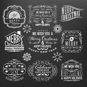 Vintage style Christmas labels on black background