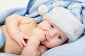 stock photo of santa baby  - christmas cute baby boy - JPG