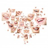 Heart collage of perfect smiles. Set of beautiful wide human smiles with great healthy white teeth.