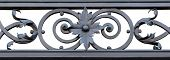 section of decorative black wrought iron. Isolated on a white background.