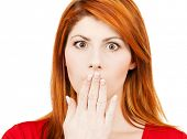 foto of shh  - picture of amazed woman with hand over mouth - JPG