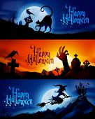 image of raven  - Three scary vector halloween banners  - JPG