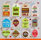 stock photo of xmas tree  - Christmas labels - JPG