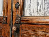 picture of lace-curtain  - Beautiful old wooden door with white lace curtain - JPG