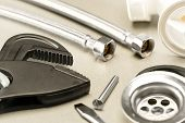 image of plumbing  - A selection of plumbing accessories - JPG